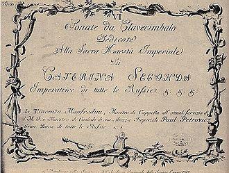 Vincenzo Manfredini - Vincenzo Manfredini: Harpsichord Sonata Cover, Edition of 1765.