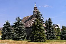 The old wooden church, now in Maniowy cemetery