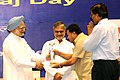 Manmohan Singh presenting the award for the best performing States under the Panchayat Empowerment & Accountability Incentive Scheme (PEAIS) to Sikkim, at the National Panchayati Raj Diwas, in New Delhi on April 24, 2010.jpg