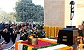 Manohar Parrikar along with the Chief of Army Staff, General Dalbir Singh, the Chief of Naval Staff, Admiral Sunil Lanba and the Chief of the Air Staff, Air Chief Marshal Arup Raha paying homage to the Martyrs of 1971 War.jpg
