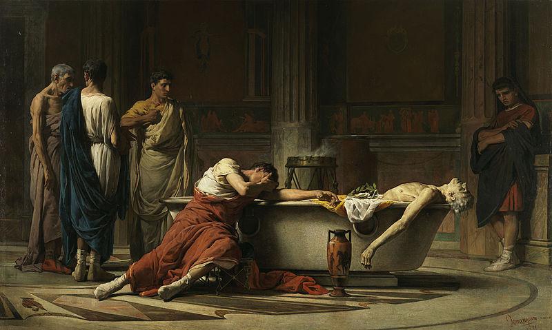 La muerte de Séneca, pintura por Manuel Domínguez Sánchez