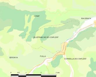 Villefranche-de-Conflent - Map of Villefranche-de-Conflent and its surrounding communes