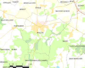 Map of the commune of Avallon