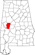 Kart over Alabama med Hale County uthevet