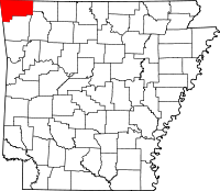 Map of Arkansas highlighting Benton County
