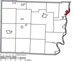 Location of Martins Ferry in Belmont County