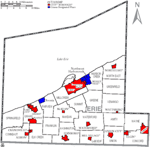 Map of Erie County, Pennsylvania with Municipal Labels showing Cities and Boroughs (red), Townships (white), and Census-designated places (blue).