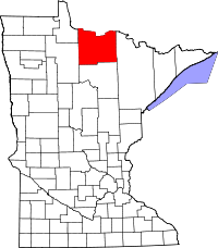 Map of Minnesota highlighting Koochiching County