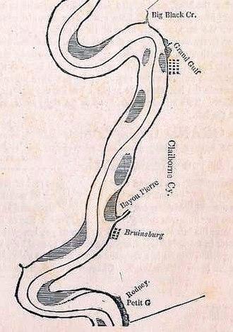 Bruinsburg, Mississippi - Image: Map of Mississippi River showing Grand Gulf, Mississippi and Bruinsburg, Mississippi (1840)