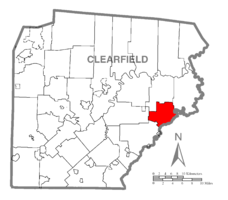Map of Clearfield County, Pennsylvania highlighting Morris Township