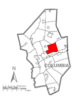 Map of Columbia County, Pennsylvania highlighting North Centre Township