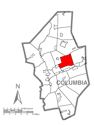 North Centre Township, Columbia County, Pennsylvania - Image: Map of North Centre Township, Columbia County, Pennsylvania Highlighted