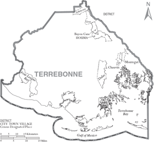 Terrebonne Parish, Louisiana - Map of Terrebonne Parish, with municipal labels