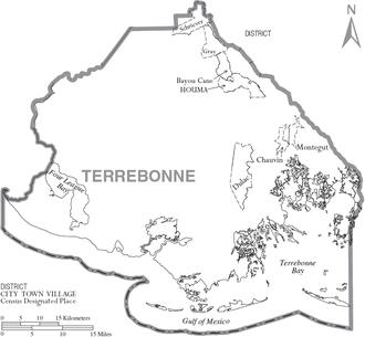 Terrebonne Parish, Louisiana - Map of Terrebonne Parish, with municipal labels