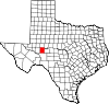 State map highlighting Reagan County