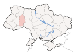 Location o Khmelnytskyi Oblast (red) athin Ukraine (blue)