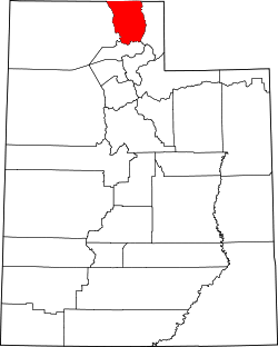 map of Utah highlighting Cache County
