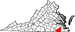 State map highlighting Southampton County