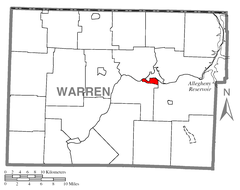 Map of Warren South, Warren County, Pennsylvania Highlighted.png