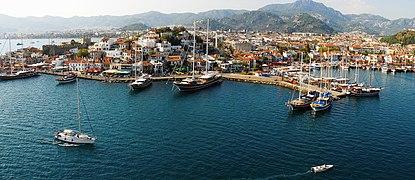 Marmaris harbor (aerial view), Muğla Province, southwest Turkey, Mediterranean