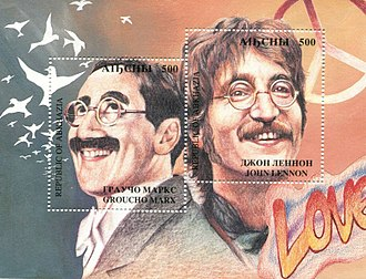 "Marx and John Lennon (a pun on ""Marx"" and ""Lenin"") on a 1994 Abkhazia stamp as a way of asserting the former Soviet republic's independence. Marx-Lennon Abkhazia stamp.jpg"