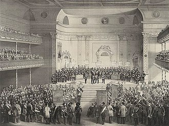 Winter Garden Theatre (1850) - Interior of Tripler Hall, 1850. In 1854 it burned down and was replaced by The New York Theatre, which was renamed The Winter Garden Theatre by the impresario Dion Boucicault after extensive remodeling in 1859.