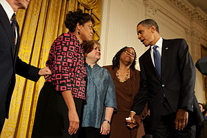 Matthew Shepard - President Barack Obama greets Louvon Harris, left, Betty Byrd Boatner, right, both sisters of James Byrd, Jr., and Judy Shepard at a reception commemorating the enactment of the legislation