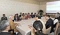 Mayor of Kyoto Daisaku Kadokawa delivering a presentation for Indian Prime Minister Narendra Modi.jpg