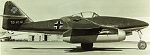 Right side view of aMesserschmitt 262 jet fighter captured by the United States Army Air Forces on the ground.