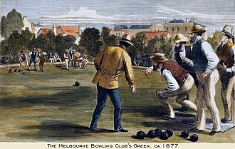 Melbourne Bowling Club - Bowls game at the MBC, 1877