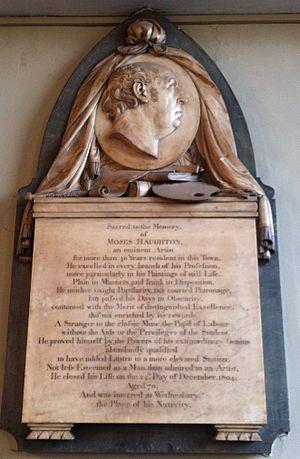 Moses Haughton the Elder - Memorial to Moses Haughton in St Philip's Cathedral, Birmingham