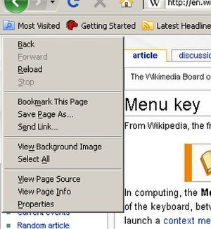 Menu key - The context menu in Mozilla Firefox