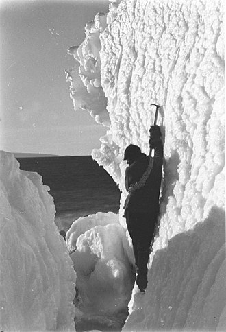 Xavier Mertz - Mertz exploring the ice ravines near the expedition's main base at Cape Denison