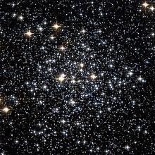Plusieurs centaines d'étoiles de différentes luminosités et couleurs dispersées sur un fond noir
