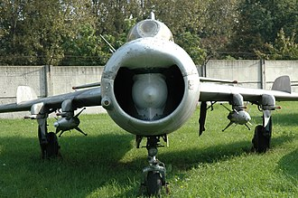 Mikoyan-Gurevich MiG-19 - MiG-19PM shows the nose inlet housing the radar.