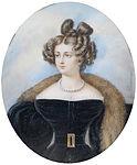 Michaelo Albanesi Bildnis einer Dame in schwarzem Kleid und Pelz.jpg