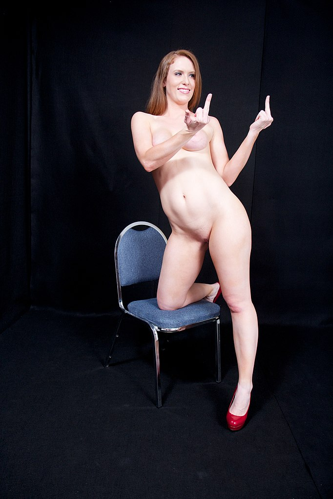 woman middle finger nude