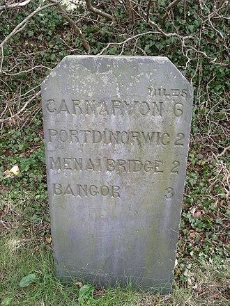 Milestone - Slate milestone near Bangor, Wales