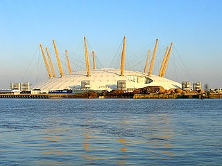Millennium Dome original name of a large dome-shaped building in South East London, England