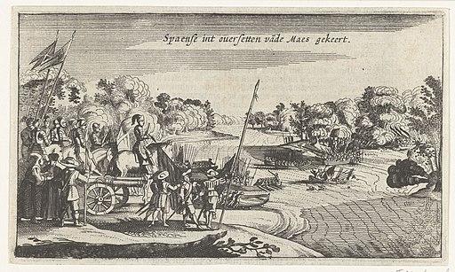 Mislukt poging van het Spaanse leger om de Maas te steken, 1632 Spaense int oversetten vande Maes gekeert (titel op object), RP-P-OB-81.339