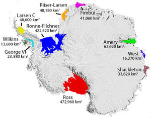 Filchner-Ronne Ice Shelf - Some named Antarctic iceshelves.