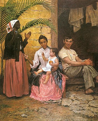 """Modesto Brocos - A Redenção de Cam (Ham's Redemption, 1895), a controversial commentary on """"blanqueamiento"""", the progressive whitening of Brazil's population through intermarriage"""