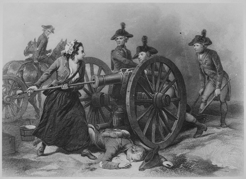 Molly Pitcher at the Battle of Monmouth. June 1778. Copy of engraving by J. C. Armytage after Alonzo Chappel., 1931 - 19 - NARA - 532935