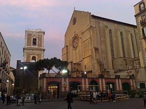 Artistic patronage of the Neapolitan Angevin dynasty - Façade (right) and belltower of Santa Chiara.