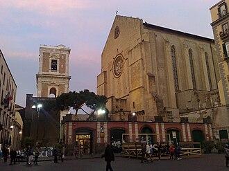 Artistic patronage of the Neapolitan Angevin dynasty - Façade (right) and belltower of Santa Chiara.