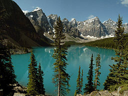 Moraine Lake och Valley of the Ten Peaks, Banffs nationalpark, Alberta, Kanada.
