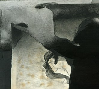 Mordançage - Detail of a mordançage print on matte fiber based paper. Oxidation, veiling, and bleaching effects are visible.
