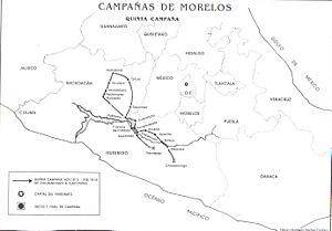 Battle of Lomas de Santa María - A map of the fifth and final campaign of José María Morelos, wherein the Battle of Lomas de Santa María took place.