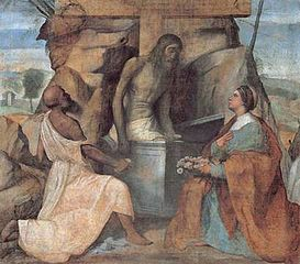 Saints Jerome and Dorothea adore Christ in the tomb