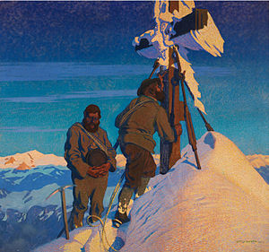 Summit cross - Otto Barth (1876–1916), Morning prayers by the Kalser alpine guides on the Großglockner, oil on canvas, 1911